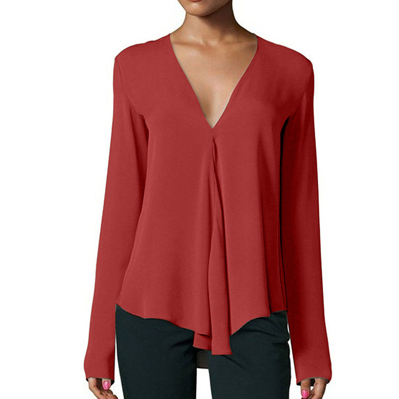 New Spring summer chiffon shirt Women Casual shirts Loose Long Sleeve V-neck Blouse Tops ...