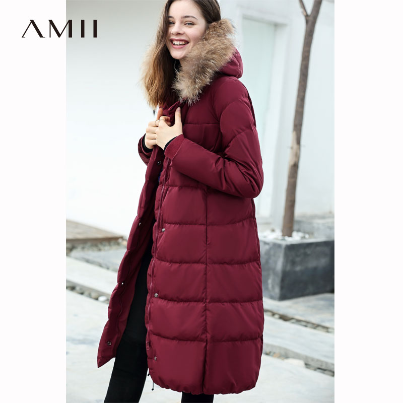 Amii 2018 Latest Winter Women 90% White Duck   Down   Zipper Detail Pocket   Down     Coat   with Fur Hoodie