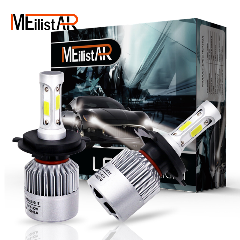 Meilistar car <font><b>headlight</b></font> H7 LED H8/H9/H11 HB3/9005 HB4/9006 9007 H4 h3 H1 880 bulb auto front fog drl bulb automobile headlamp