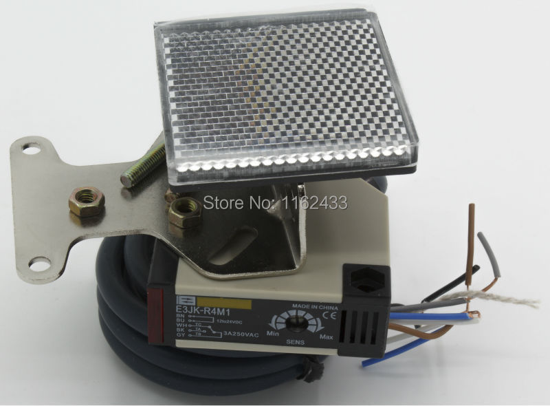 E3JK-R4M1 DC 12-24V 4m sensing 18x50x50mm retroreflective photoelectric switch with reflector E3JK series photoelectric sensorE3JK-R4M1 DC 12-24V 4m sensing 18x50x50mm retroreflective photoelectric switch with reflector E3JK series photoelectric sensor