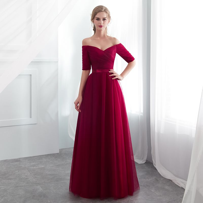 2019 New Hot Sale Red Bridesmaid Dresses Satin Tulle A-Line Royal Blue Sleeveless Wedding Party Prom Girl Dresses party dress