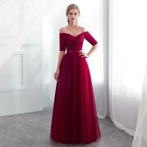 Image 5 - Vestidos Elegantes para dama de honor, color morado, de tul satinado, azul real, Media manga, fiesta de boda, vestidos de graduación togas, 2020