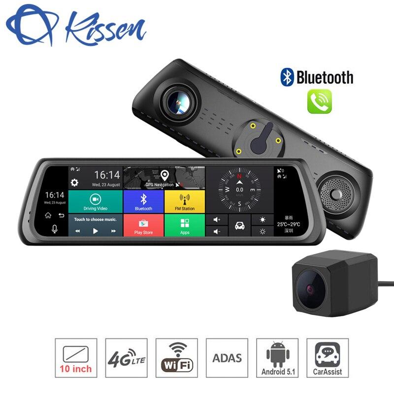 Kissen 4g Android 5.1 Voiture DVR 10 pouce Tactile Dash Cam Voiture Rétroviseur Dash Caméra Double Lentille ADAS GPS Navigation Wifi Enregistreur