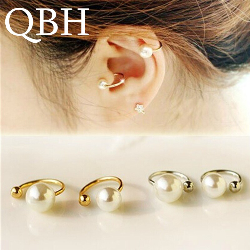 EK803 New Brincos Clip Earing boucle d'oreille Bijoux Simulated-pearl Ear Cuff Earrings For Women Girl Jewelry Gift Pendientes