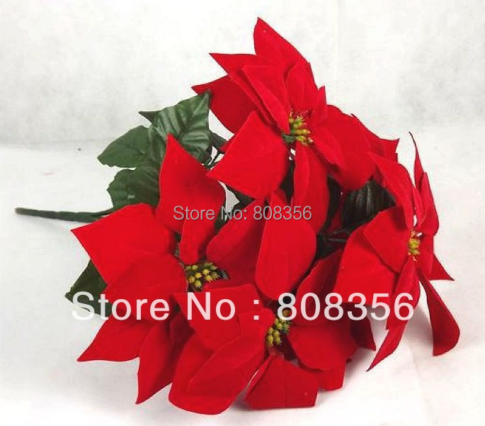 8pcs Artificial Poinsettia Christmas Flower 45cm1772 Inches Red
