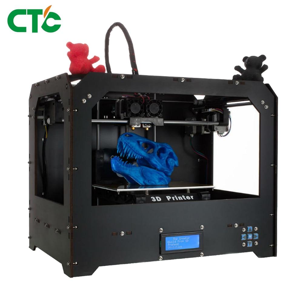 CTC 3D Printer Bizer I Two Nozzel MultiColor Printing 3D Printer With 1.75mm PLA Filament 1 75mm pla 3d printer filament printing refills 10m