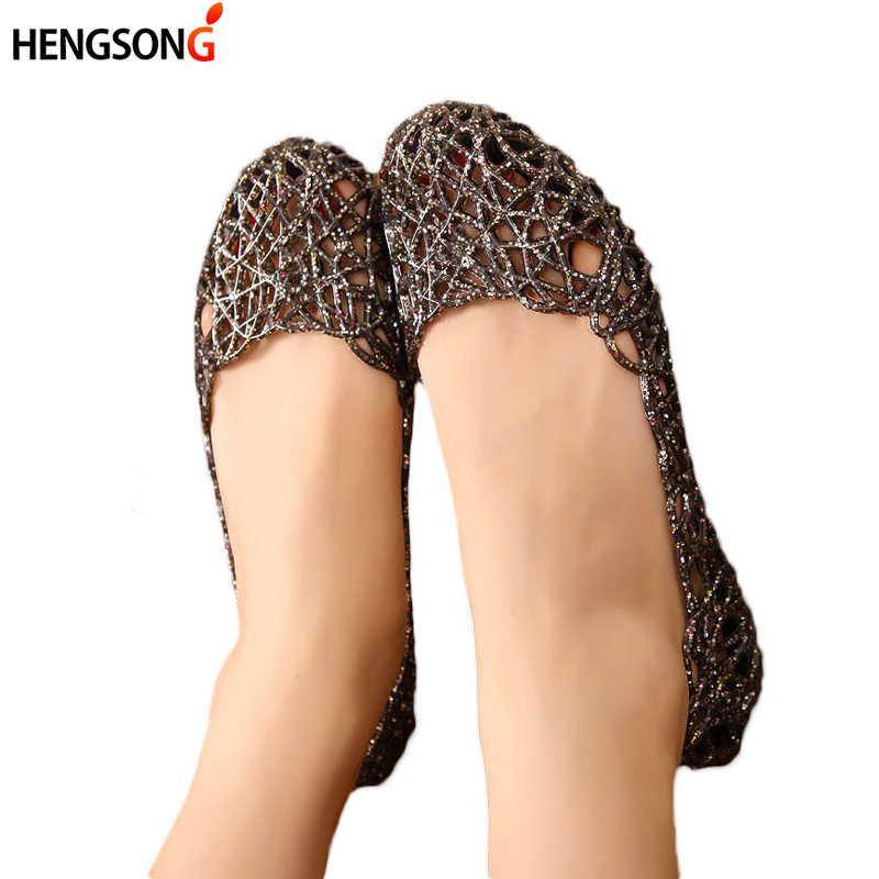 2019 kobiet sandały letnie dorywczo galaretki buty sandały drążą Mesh mieszkania Lady Girl oddychające sandały 23-25cm