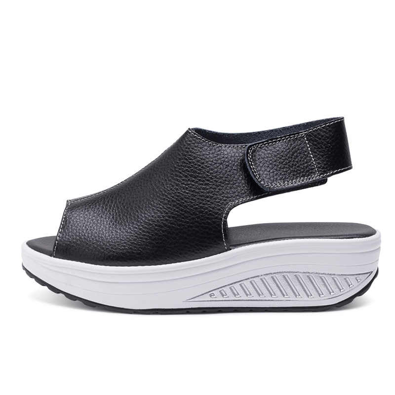 Модные летние сандалии; женская обувь на толстой танкетке; скошенная платформа; кожаные сандалии с головой; женская обувь