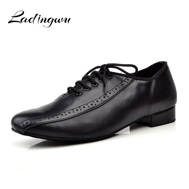 Ladingwu Hommes de Cuir Véritable Chaussures De Danse Hommes Sociale Chaussures Pour La danse de salon Fond Mou Chaussures De Danse Latine Bas- à talons hauts 2.5/4c