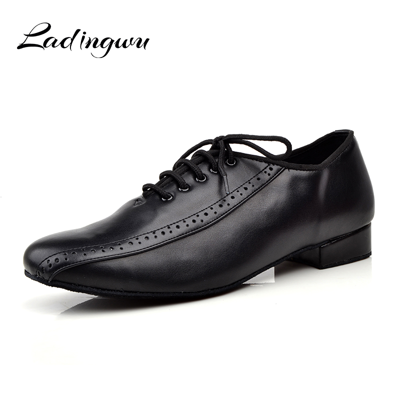 Ladingwu Men's Genuine Leather Dance Shoes Men Social Shoes For Ballroom dancing Soft Bottom Latin Dance Shoes Low-heeled 2.5/4c 95