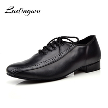 Ladingwu الرجال حقيقية الجلود أحذية الرقص أحذية الرجال الاجتماعية ل قاعة الرقص لينة أسفل اللاتينية الرقص الأحذية المنخفضة الكعب العالي 2.5/4c