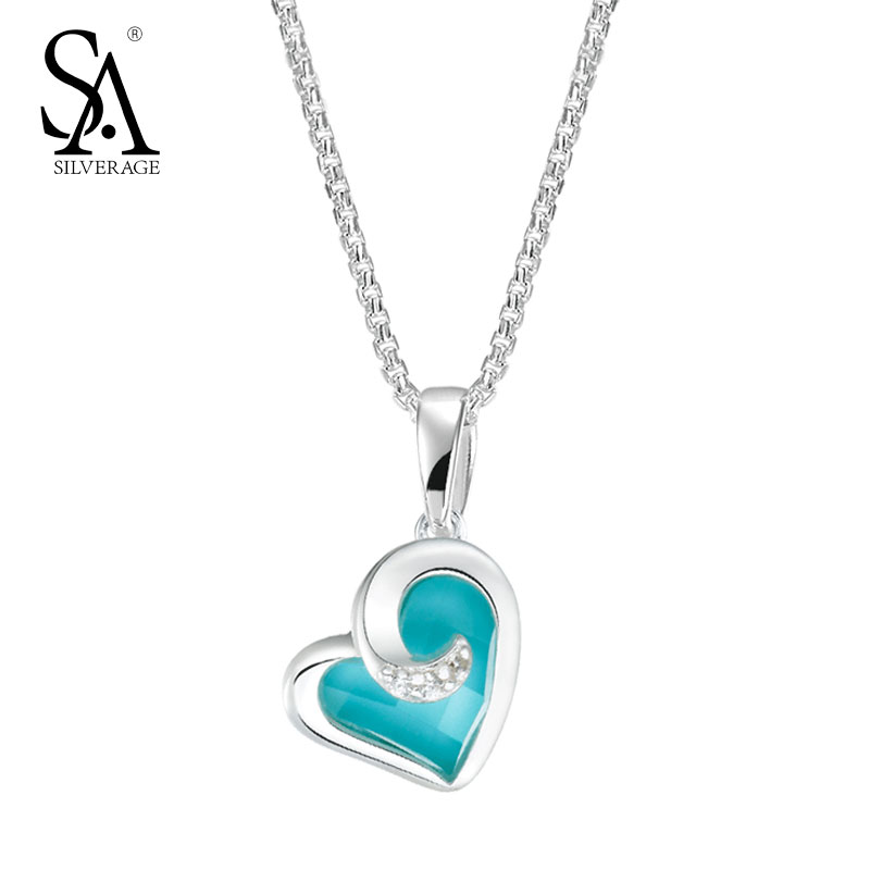 SA SILVERAGE Love Heart Pendant 925 Sterling Silver Jewelry Women Turquoise Necklaces & Pendants Valentine Lover Gift Accessory a suit of graceful heart key pendant necklaces jewelry for lover