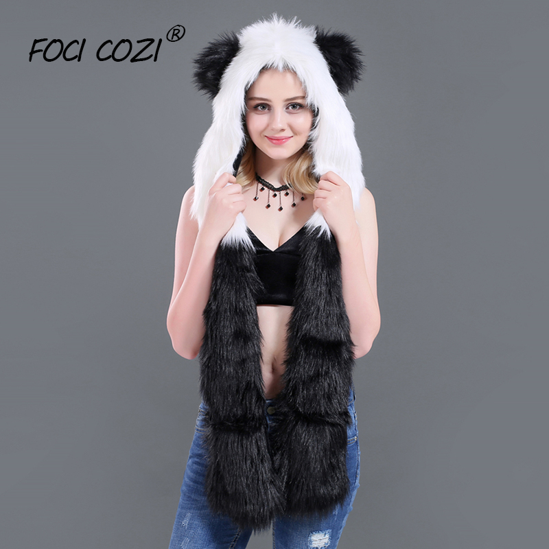 2019 new winter accessories Faux Fur Hood Animal Hoods Hat PANDA Full Animal Hoodie Hat 3-in-1 Function Mittens Furry Hoodie