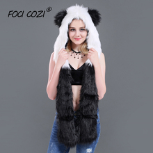 2019 new winter accessories Faux Fur Hood Animal Hoods Hat PANDA Full Animal Hoodie Hat 3-in-1 Function Mittens Furry Hoodie free shipping 1pc lot popular crazy panda high quality faux fur hood animal hat with ear flaps and hand pockets 3 in 1 function