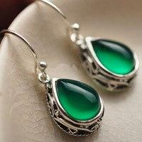 925 Sterling Silver Earrings chalcedony xanh giọt chất lượng Cao nữ đồ trang sức tự nhiên semi gem/đá/san hô/opal marcasit