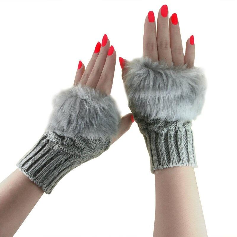 Fashion Women Winter Gloves Plush Faux Fur Knitted Wool Keep Warm Short Mitten Fingerless Lady Girl Half Finger Warmer Glove SL