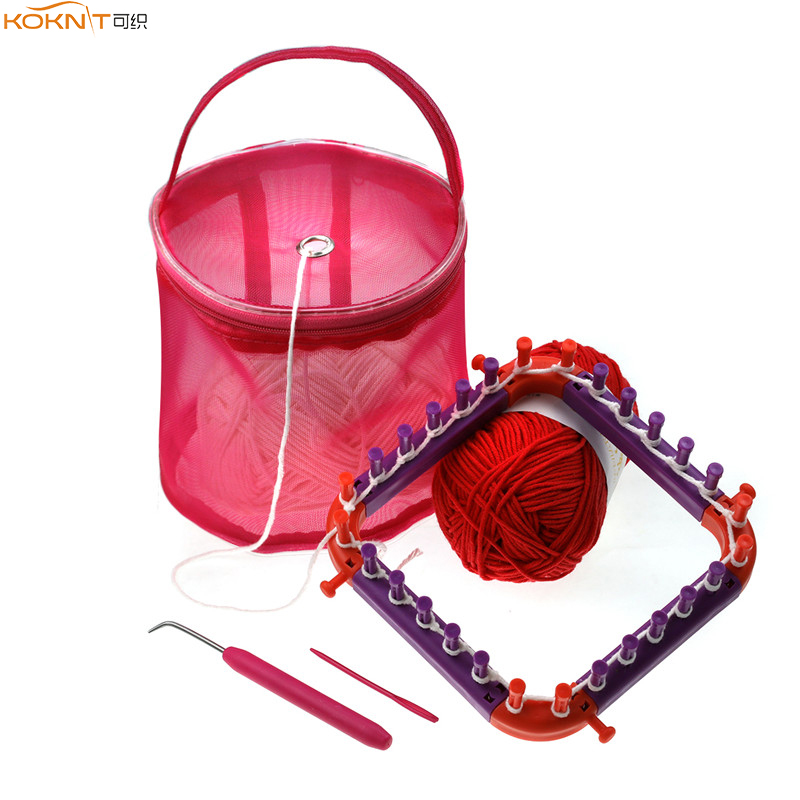 KOKNIT Knitting Loom DIY Spliced Loom Braided Frame Child Educational Long Ring Set With Hook Needles And Small Yarn Storage Bag