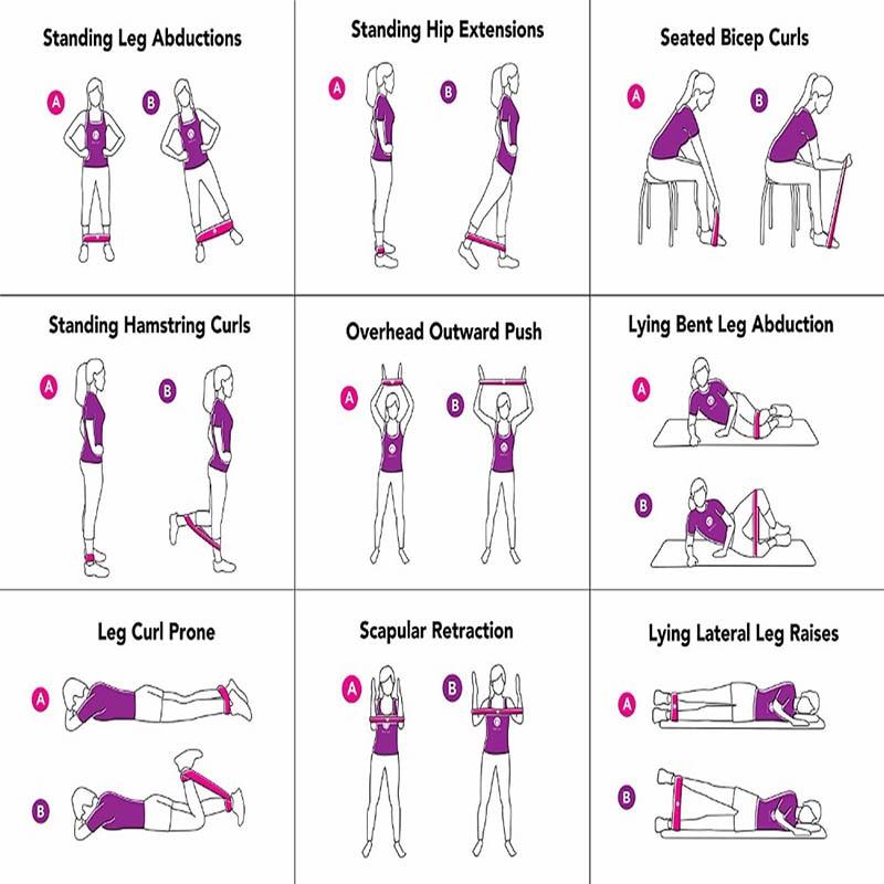 5 stks Yoga Weerstandsbanden Rekken Rubberen Loop Oefening Pilates - Fitness en bodybuilding - Foto 6