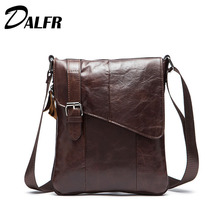 DALFR Genuine Leather Messenger Bags Vintage  Zipper Style Crossbody Bags Solid 15 Inch Water Proof Cowhide Bags for Men