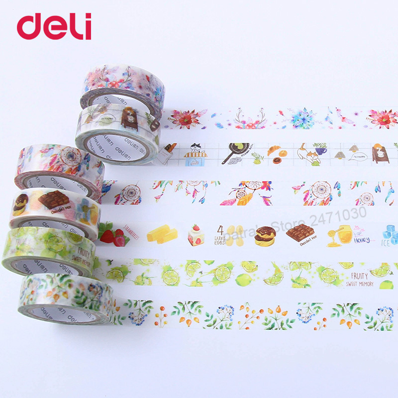 Купить с кэшбэком Deli Wholesale Creative Colorful adhesive masking tape set DIY Scrapbooking Sticker Label decorative school supplies stationery