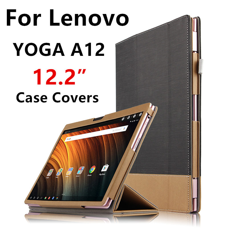 Case For Lenovo YOGA A12 Protective Smart cover Protector Leather Tablet PC For yoga a12 PU Sleeve 12.2 inch Cases Covers Holste smart cover silk print protective leather case cover for 8 inch lenovo yoga b6000 tablet pc gift screen protector pen stylus