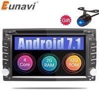Eunavi Универсальный 2 Din Android 7,1 8,1 dvd плеер автомобиля gps + wifi + bluetooth + радио + quad Core + ddr3 + емкостный Сенсорный экран + стерео