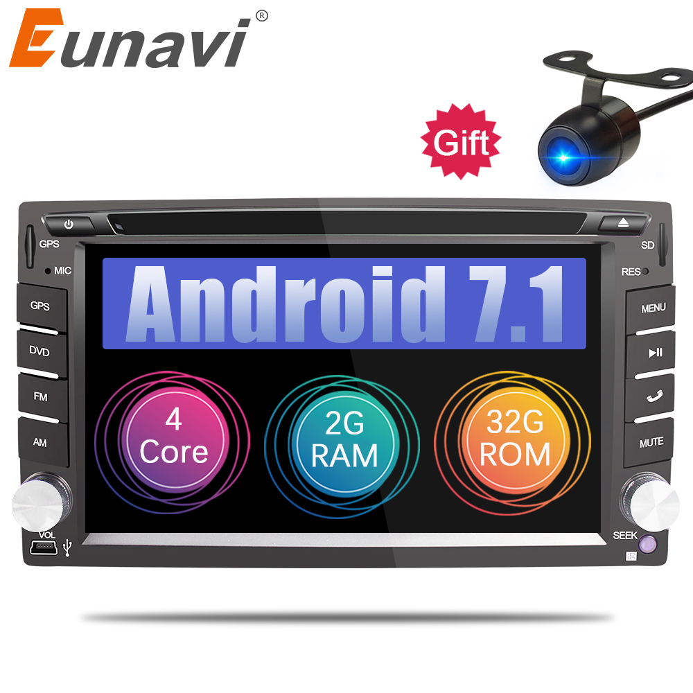 Eunavi 2 Din Universal Android 7.1 Car Dvd Player GPS + wifi + bluetooth + radio + quad Core + ddr3 + Capacitive Touch Screen + carro Pc + stereo