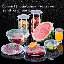 Tapas elásticas universales de silicona para mantener fresca la comida, Bol sellado