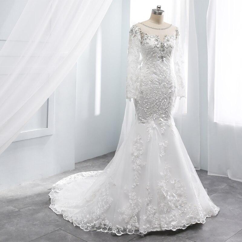 Mermaid Wedding Dress Cap Sleeves Beading Wedding Grwon Long Sleeves Custom Made Wedding Marriage Backless Vestido De Noiva 2019