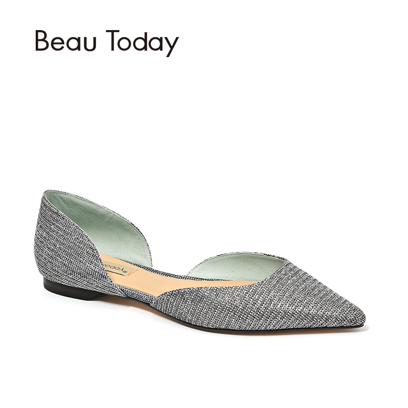 BeauToday Women Sandals Sequined Cloth Slip-On Pointed Toe Cover Heel Lady Summer D'orsay Flats High Quality 30054 cloth slip on bowtie pointed toe womens sandals