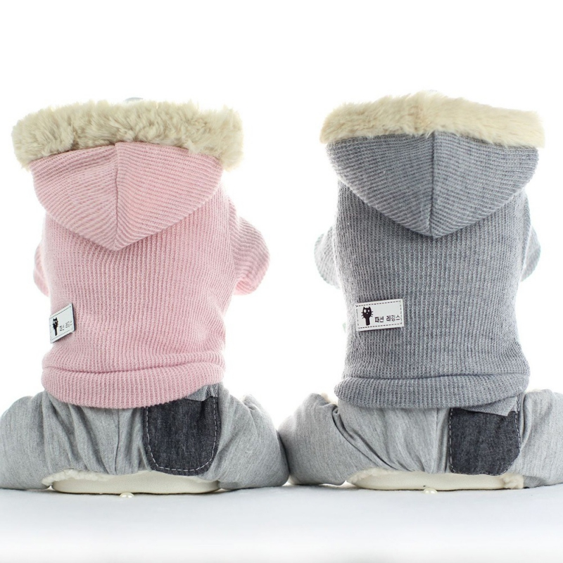 Wool Rabbit Dog Jumpsuit Winter Leather Pet Clothes Warm Padded Pets Hoodies Coat Puppy Cat Costumes Four-legged For Small Dogs