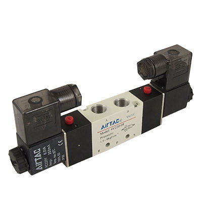 4V220-08 1/4BSP 5 Ways 2 Positions Air Control Solenoid Valve DC 12V/24V AC 24V/36V/110V/220V/380V 2pcs free shipping high quality 1 4 4v220 08 5 ways 2 positions air control solenoid valve dual head dc12v or dc24v