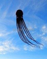 Бесплатная доставка Высокое качество 15 м черный пол Мягкий Осьминог Летающий змей управление с ручкой линии кайт ткань Рипстоп дети змеи за