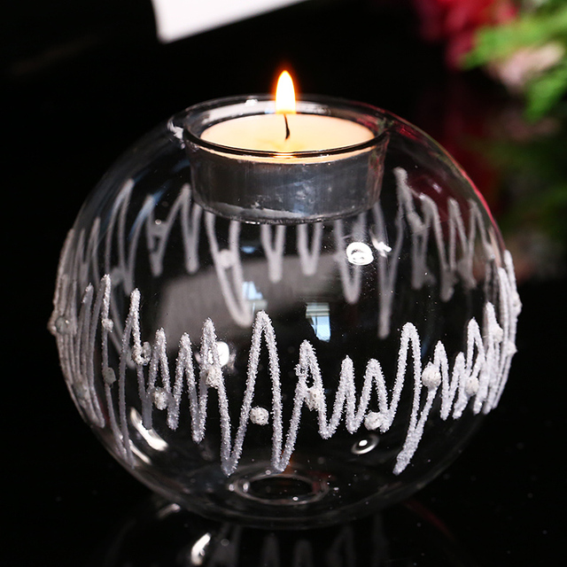 Handmade Glass Candle Holders with White String Tealight holder Home Wedding Party Table Decor Candlestick freeshipping