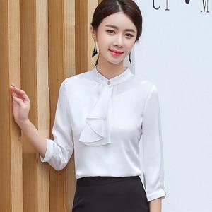Image 5 - 2019 Spring Elegant Ruffles Shirt Women Fashion Clothes Slim Half Sleeve Chiffon Blouse Office Ladies Work Wear Plus Size Tops