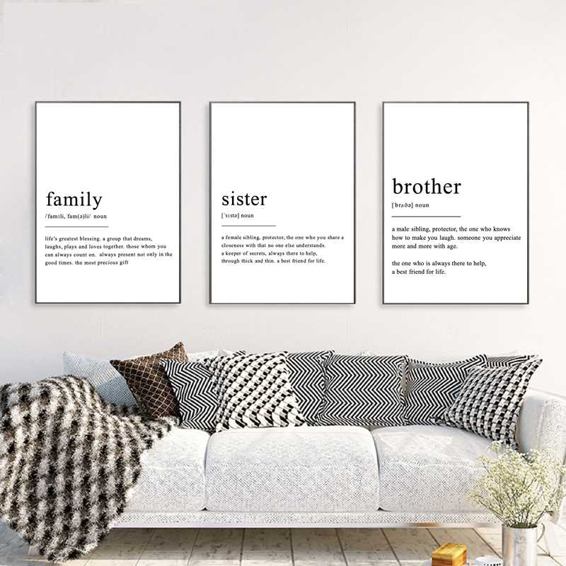 Family Sister Brother Definition Wall Art Canvas Posters Prints Modern Minimalism Quotes Painting Wall Pictures Home Decor