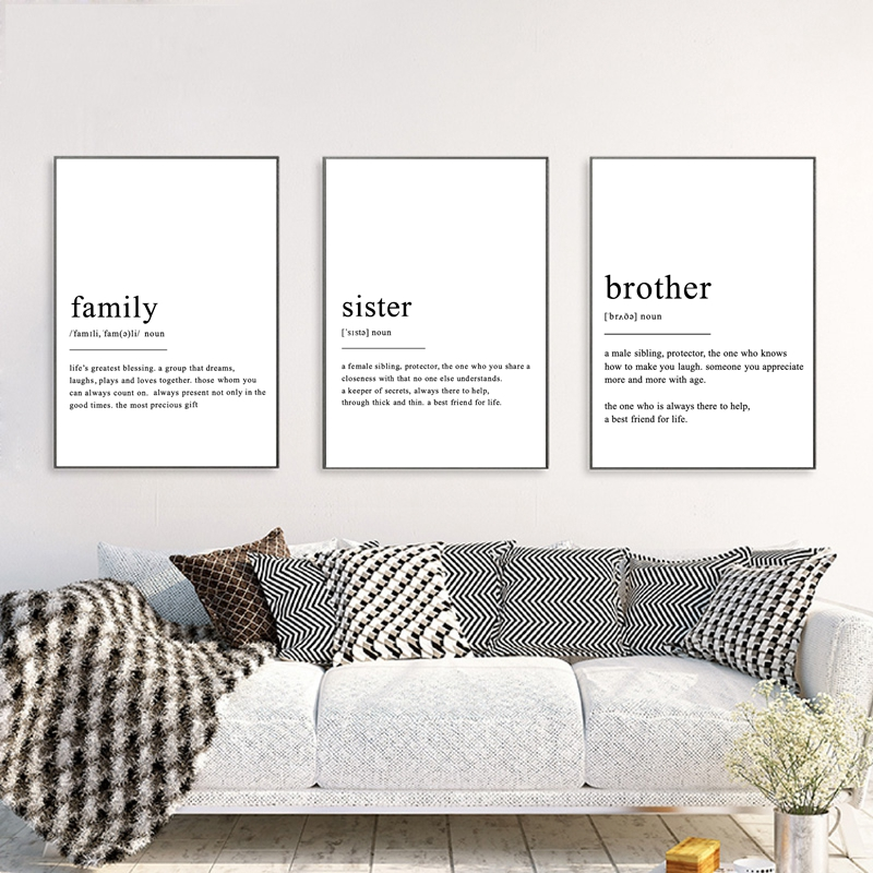 Family Sister Brother Definition Wall Art Canvas Posters ...