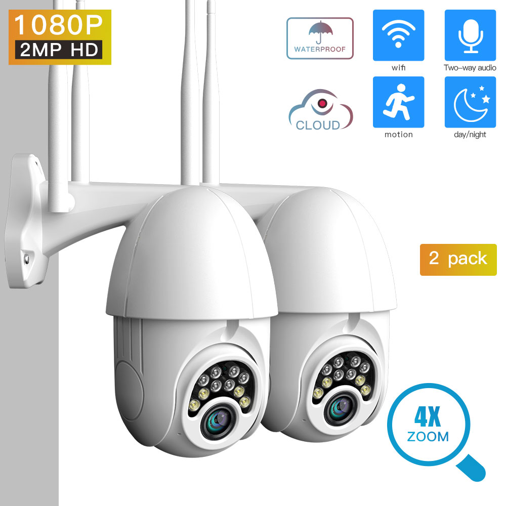 SDETER 1080P PTZ Security Camera IP Outdoor Speed Dome Wireless WIFI Camera CCTV Pan Tilt 4XZoom IR Camera exterior (2 PACK)