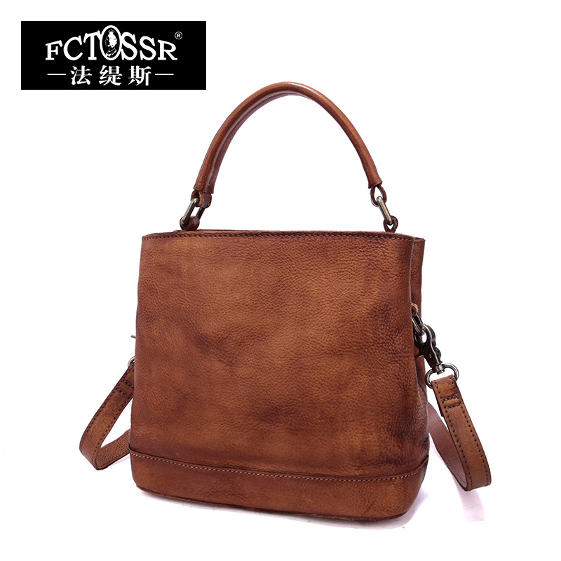 Women Bags 2018 Vintage Genuine Leather Top-Handle Bag Casual Messenger Bag Handmade Shoulder Bag Large Capacity Handbag