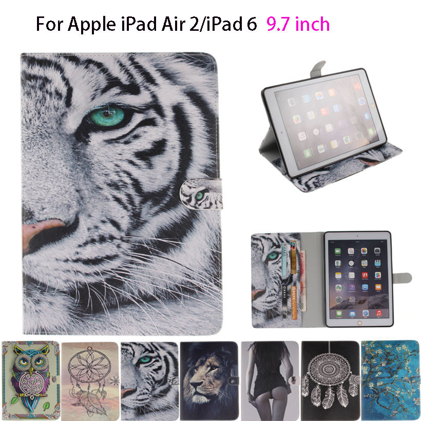 Tiger Owl Girls Painted Silicone PU Leather For iPad Air 2 Case For Apple iPad Air 2 iPad 6 Smart Case Cover Shell Fundas smart tiger