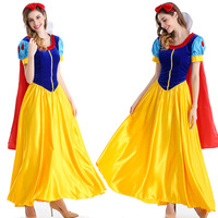 2018 snow white costume adult custom made Princess snow white cosplay costume dress headband cloak snow white dress
