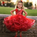 Amazing Cheap Custom Made 2017 Red Sequins Ball Gown Puffy Flower Girls Dresses For Weddings Scoop Birthday Children Girl Party