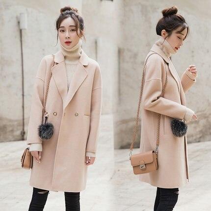 Mince Mode Femmes De Et Pardessus Col Kmetram down Manteau Femme Black Turn Hiver caramel apricot Laine Hh475 2017 100 Pink D'hiver Automne Style qEwYE6XI