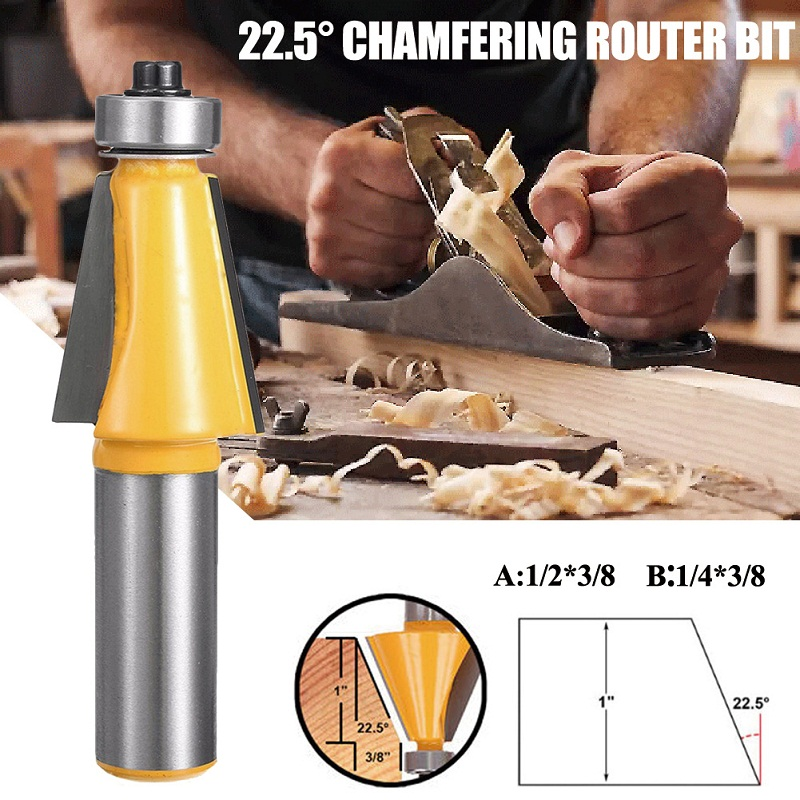 1/2 Shank 1/4 Shank High-Grade Milling Cutter Woodworking Router Bit 22.5 Carving Engraving Machine Boxed Package 1 2 shank 2 1 4 diameter bottom cleaning router bit mayitr high precision woodworking milling cutter cutting tools for mdf