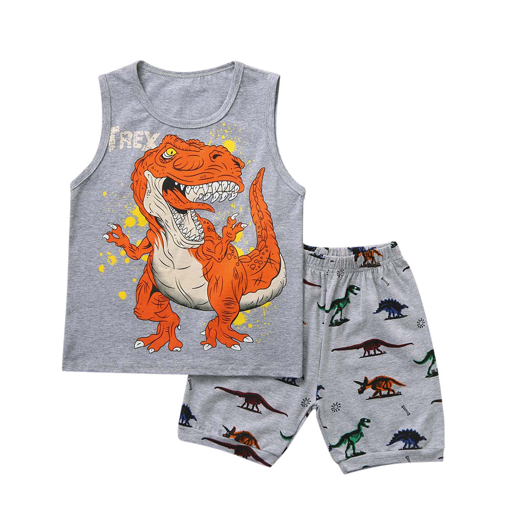Child Tracksuit Pajamas Vest Shorts T-Shirt Dinosaur Toddler Boys Casual Cartoon 1-2-3-4-5-7-Years title=