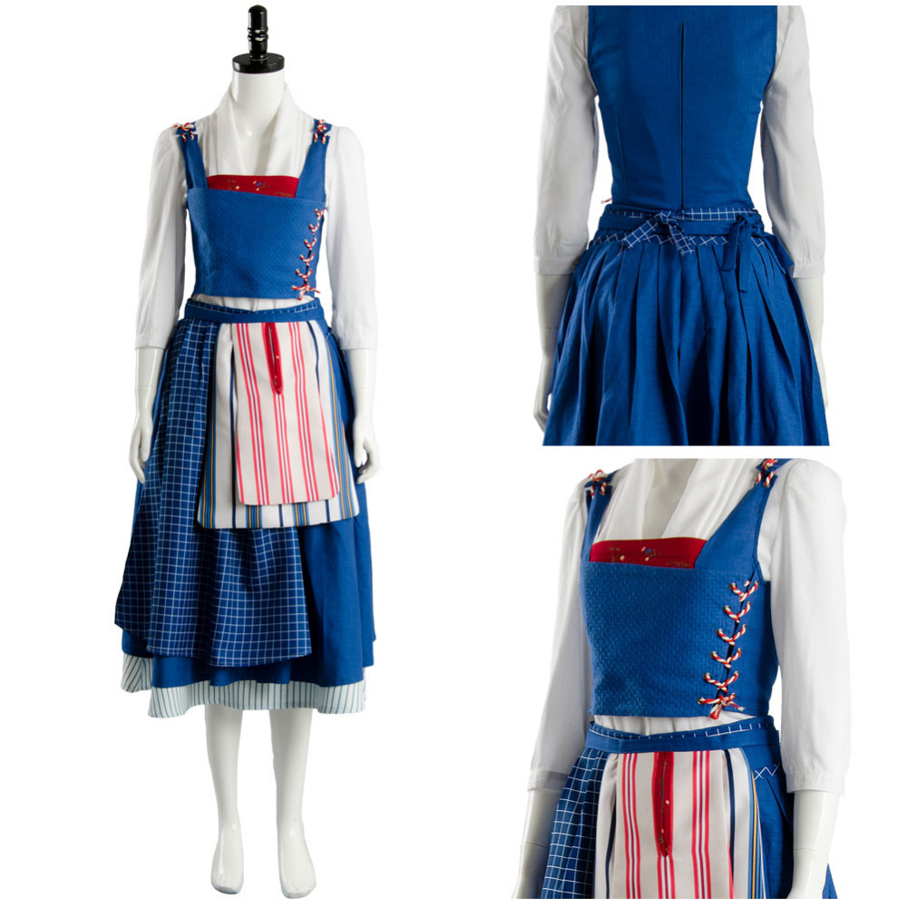 Movie Beauty and the Beast Belle Costume Maid Blue Dress Emma Watson Cosplay Costume Blue Dress Princess Belle Housemaid Costume