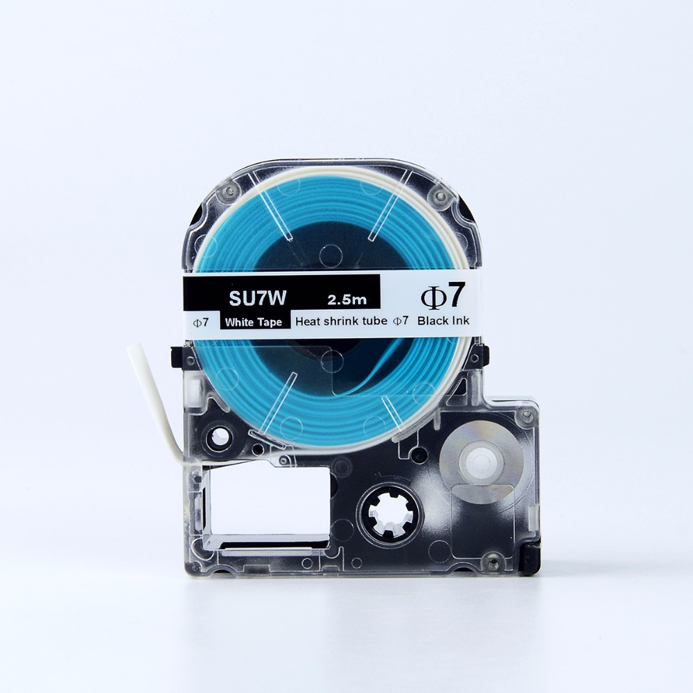 7mm SU7W  Label Tapes  Black On White Heat Shrink Tube Tapes For LW-400 LW-700P Label Printers
