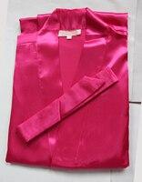 New Hot Pink Silk Bridesmaid Wedding Robe Women Short Sexy Lingerie Kimono Bath Gown Sleepwear Plus