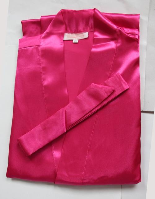 New Hot Pink Silk Bridesmaid Wedding Robe Women Short Sexy Lingerie Kimono Bath Gown Sleepwear Plus Size S M L XL XXL XXXL NR051