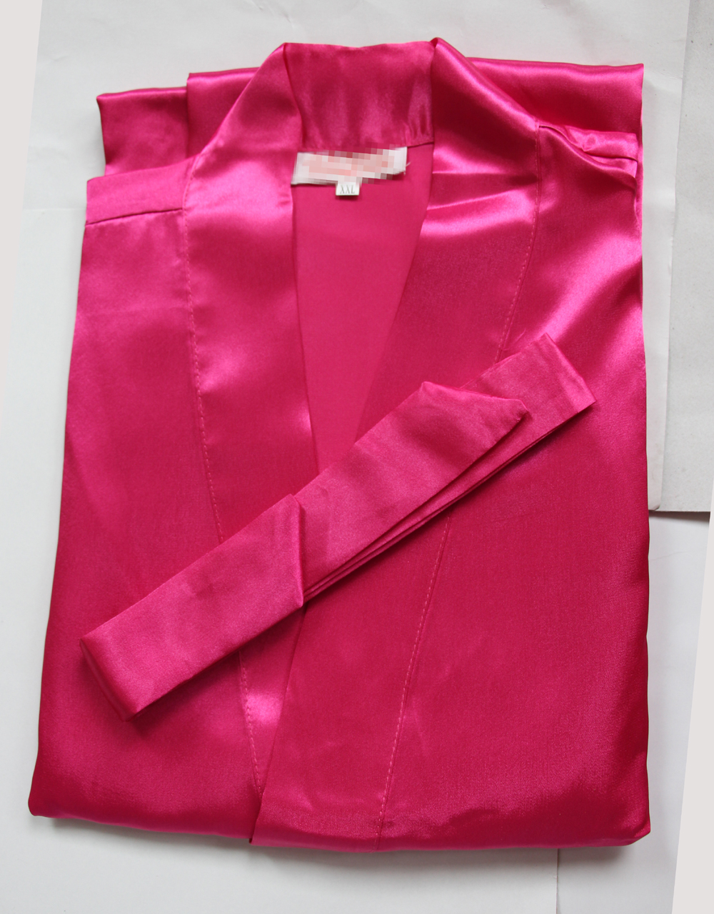 New Hot Pink Silk Bridesmaid Wedding Robe Women Short Sexy Lingerie Kimono Bath Gown Sleepwear Plus Size S M L XL XXL XXXL NR051